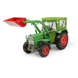 Universal Hobbies Echelle 1/32ème Tracteur en Métal Fendt Farmer 5S - 4 Roues Motrices avec cabine Peko et chargeur avant BAAS U