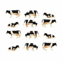 Kids Globe 1:32 Scale Black & White Cows Laying and Standing 12 pieces KG571929