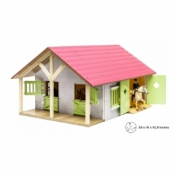 Kids Globe 1:24 Scale Wooden Horse stable with 2 Box stalls and workshop Pink/White/Light Green KG610168