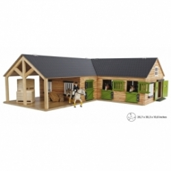 Kids Globe 1:24 Scale Wooden Horse stable with 4 boxes, storage and wash box KG610211