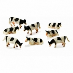 Cows 8pcs Black/white laying & Standing